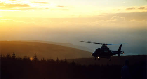 Support helicopter, Rally GB 2002, just after dawn
